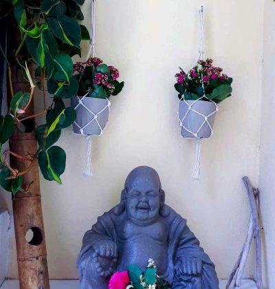 Prendre du temps pour soi. Bouda. Zen, pots de fleurs.